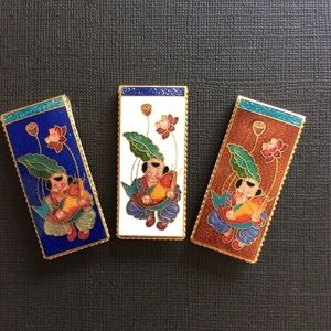 NEW chinese cloisonne money clip.